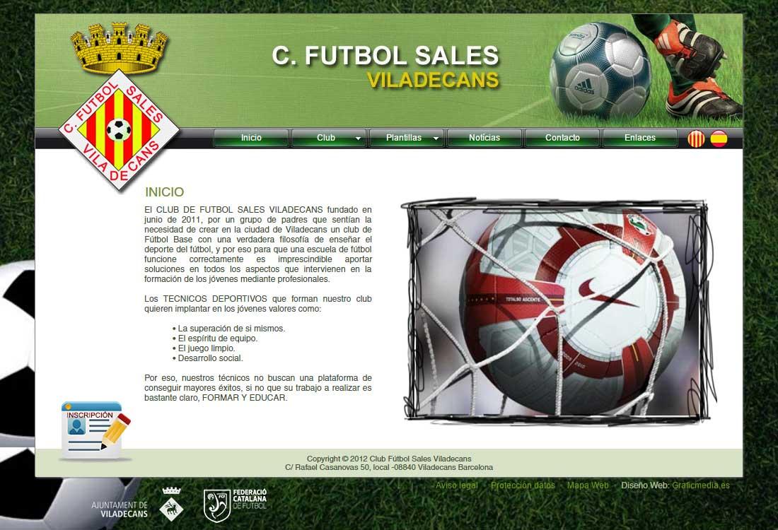 Club fútbol Sales Viladecans. Desarrollo web. Pagina web asociación  deportiva c10325a372b54